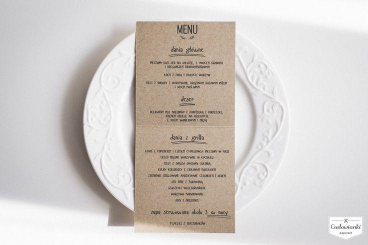 Wedding place card & menu by Cudowianki. | Menu i winietka w jednym - by Cudowianki.