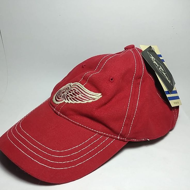 Roger Edwards Detroit Redwings Hockey 100% Cotton Hat Cap One Size New with Tags #RogerEdwards #DetroitRedWings