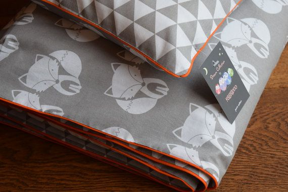 NEW 100% COTTON Cot Bed Duvet Cover Set Grey & White orange piping my little friend fox