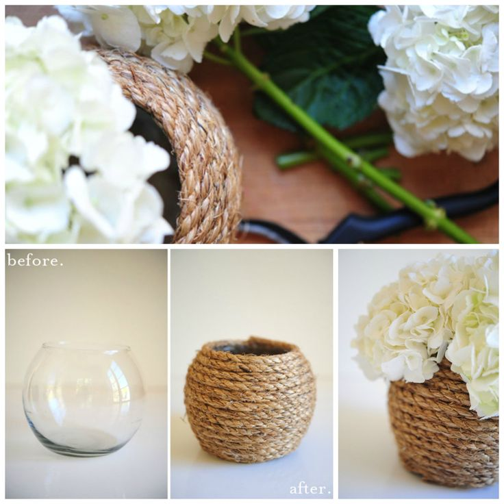 #Lifestyle #HomeCraft #DIY  #RopeVase. Here's a simple way to spice up an old glass vase with rope & glue. Click link below & follow these easy DIY steps today ► http://cupcakesandcashmere.com/diy/rope-vase-diy P:132 798 #GJQLD  ★ PIN ★ LIKE ★ SEND ★