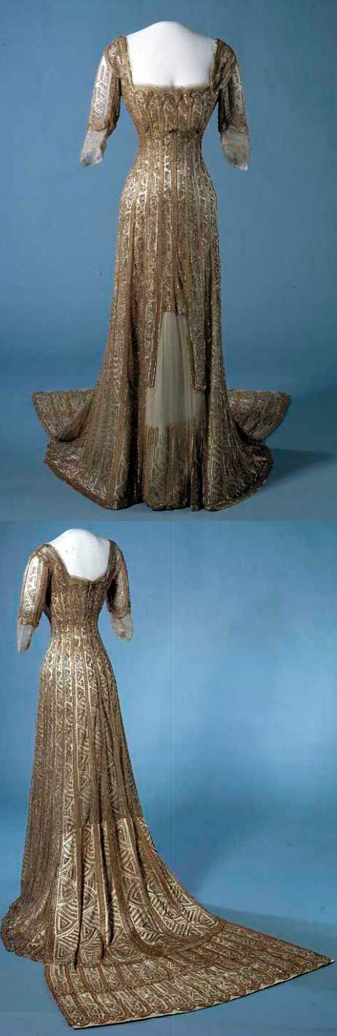 Evening gown, 1907-1909, machine- and hand-sewn silk with glass beads and metallic trim. From the Nasjonalmuseet for Kunst, Arkitektur og Design, Norway.