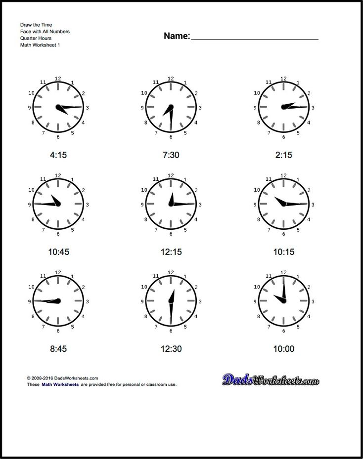 Free printable math worksheets for telling analog clock