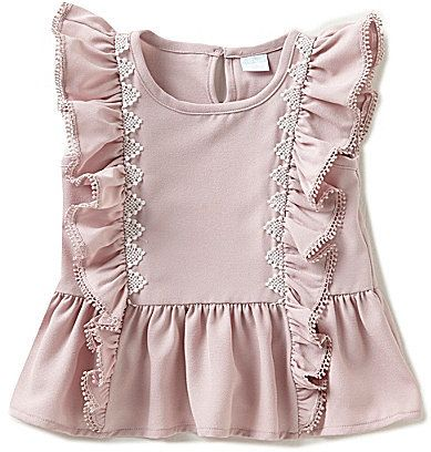 Edgehill Collection Little Flutter-Sleeve Peplum Top | Girls | Toddlers | Fashion | Clothes | Tops | Adorable | Cute | Stylish | Trendy |