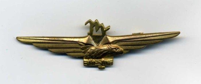 Brevetto di pilota degli aderenti alla RSI. Si noti che fu asportata la Corona Regia,sostituita dalla classica M di Mussolini
