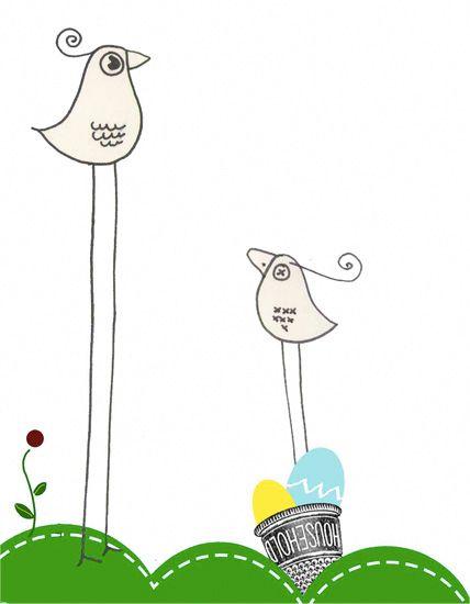 Ilustración de La Mottora pajaritos para trico trapo