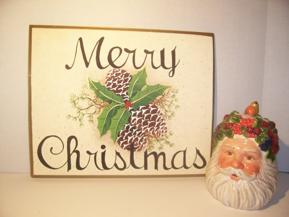 Merry Christmas Holiday Plaque  Wall Hanging  by kathleenmelville1, $25.00: Wall Hangings, Hands Paintings Signs, Christmas Creations, Christmas Holidays, Etsy Stores, Christmas Wall, Ia Etsy, Kat Crafts, Merry Christmas