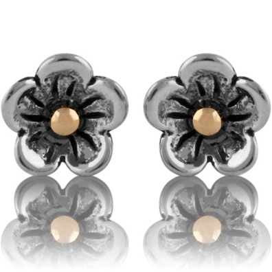 Silver and Some - Evolve - Earrings & Cufflinks, Gold and Silver Manuku Flower Studs