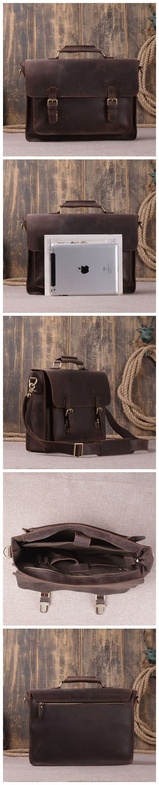 Vintage Style Genuine Leather Laptop Messenger Bag Leather Briefcase Men's Fashion Bag