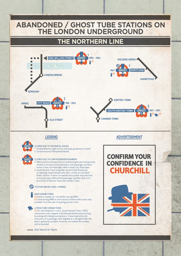 Ghost Stations - London Underground Infographics by Robert Penney, via Behance