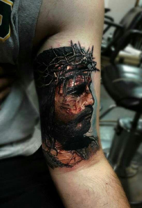 Amazing Jesus tattoo catholic the Passion of Christ Jim Caviezel crown of thorns suffering