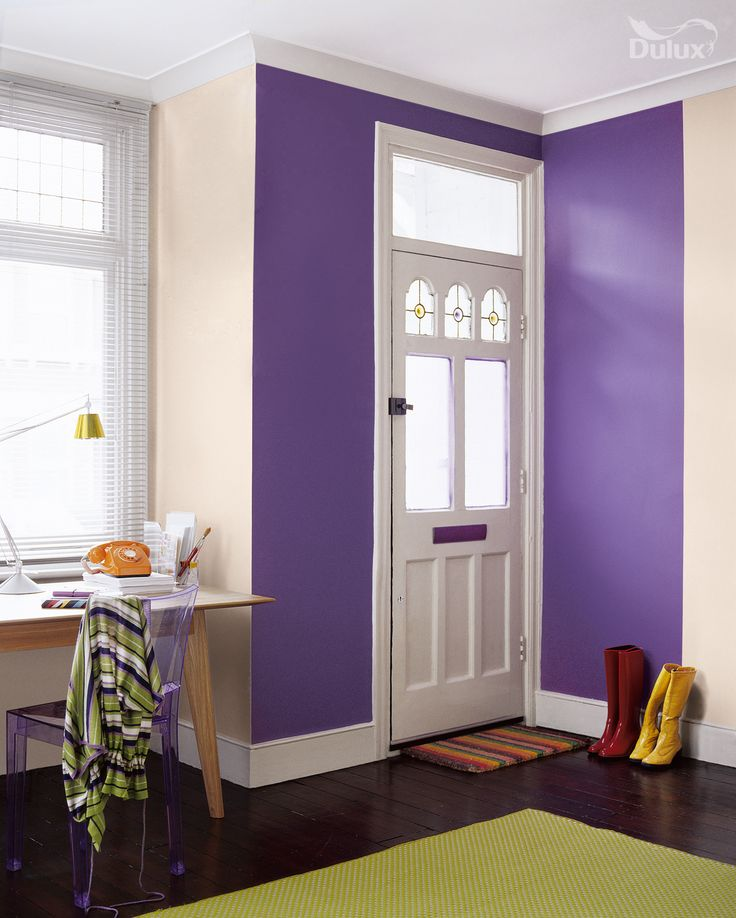 a muted neutral with a rich violet is a simple yet. Black Bedroom Furniture Sets. Home Design Ideas