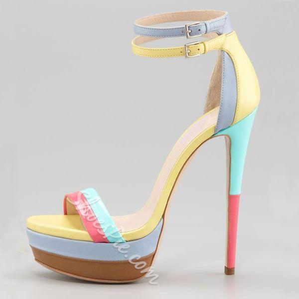 Amazing Color Matching Platform Stiletto Sandals