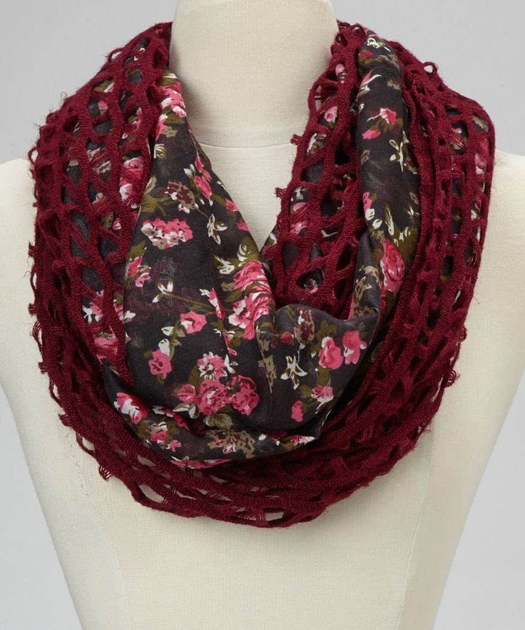 Maroon & Pink Floral Zigzag Knit Infinity Scarf