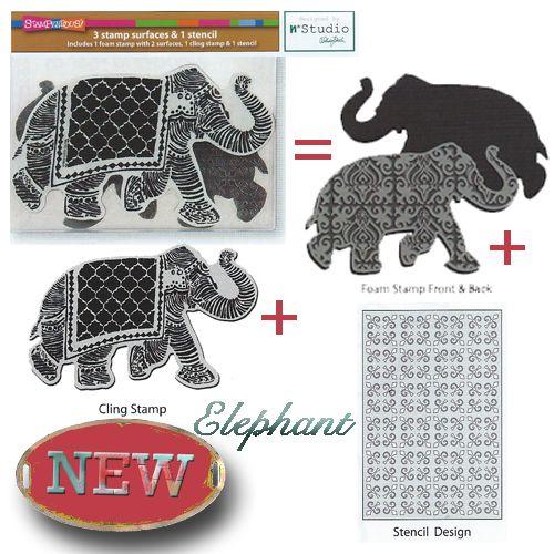 Image result for Stampendous N*studio Stamp & Stencil Set-Elephant