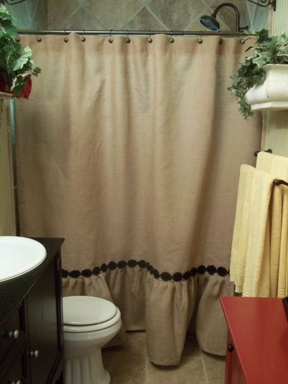 Ruffled bottom burlap shower curtain with by for 60s bathroom decor