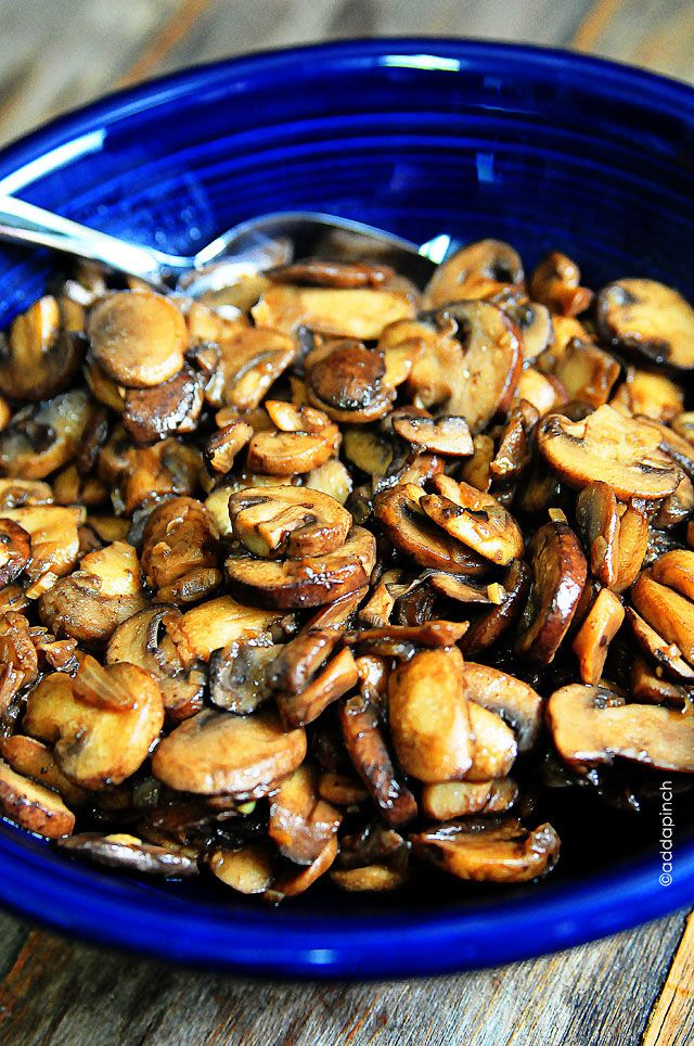 Mushroom Saute Recipe | Delicious side to steaks, chicken and more! So simple and tasty! from addapinch.com