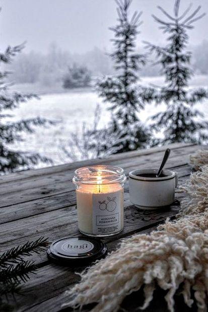 #Schnee #Winter #Natur #Wald #Kaffee #Kerzen   – Coffee