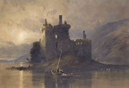 A View of Kilchurn Castle, Loch Awe, Argyll, 1838, pencil and watercolor heighten with body color with scratching out by Thomas Miles Richardson, British, 1784-1848.  Richardson was an English landscape artist who specialized in scenes of castles in...