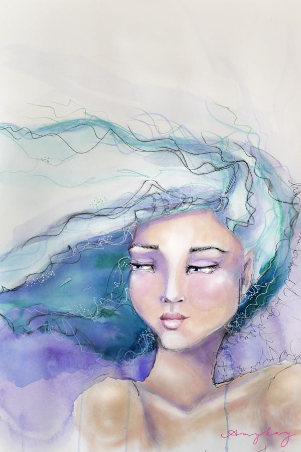 Swept Away Watercolor And Ink Painting Of A Young Woman With Wind