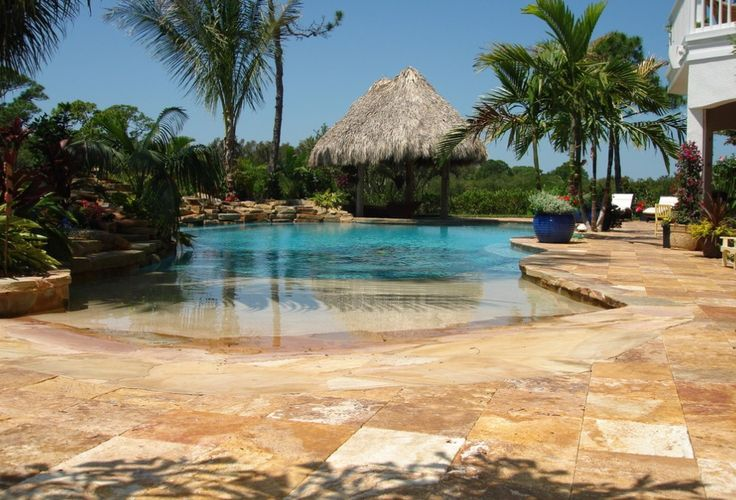 Travertine pools travertine pool deck tampa walnut for Pool design tampa