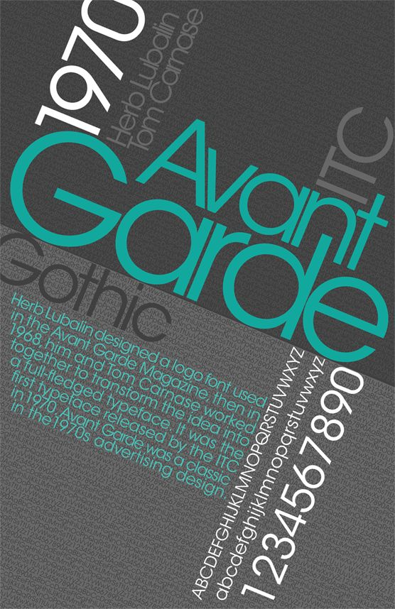 FONT- Avant Garde, mi piace molto questo font perchè è semplice e pulito ma risulta moderno.