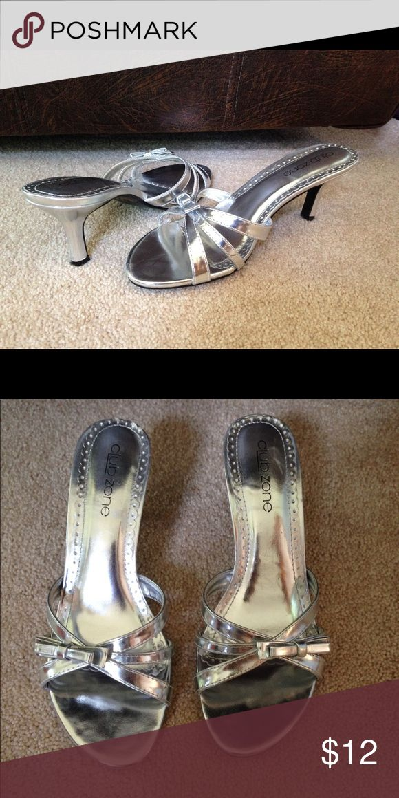 "Silver Sandal Heels Only worn once!!!                                                      Heel height is approximately 2 1/2"". Club Zone Shoes Heels"
