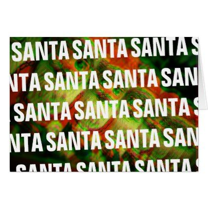 Trippy Santa Christmas Card - christmas cards merry xmas family party holidays cyo diy greeting card