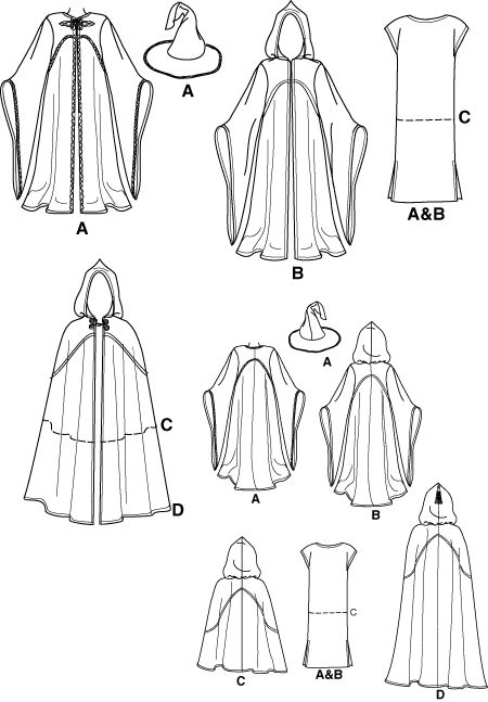 Simplicity 9887 SEWING PATTERN Medieval Wizard Cape/Cloak
