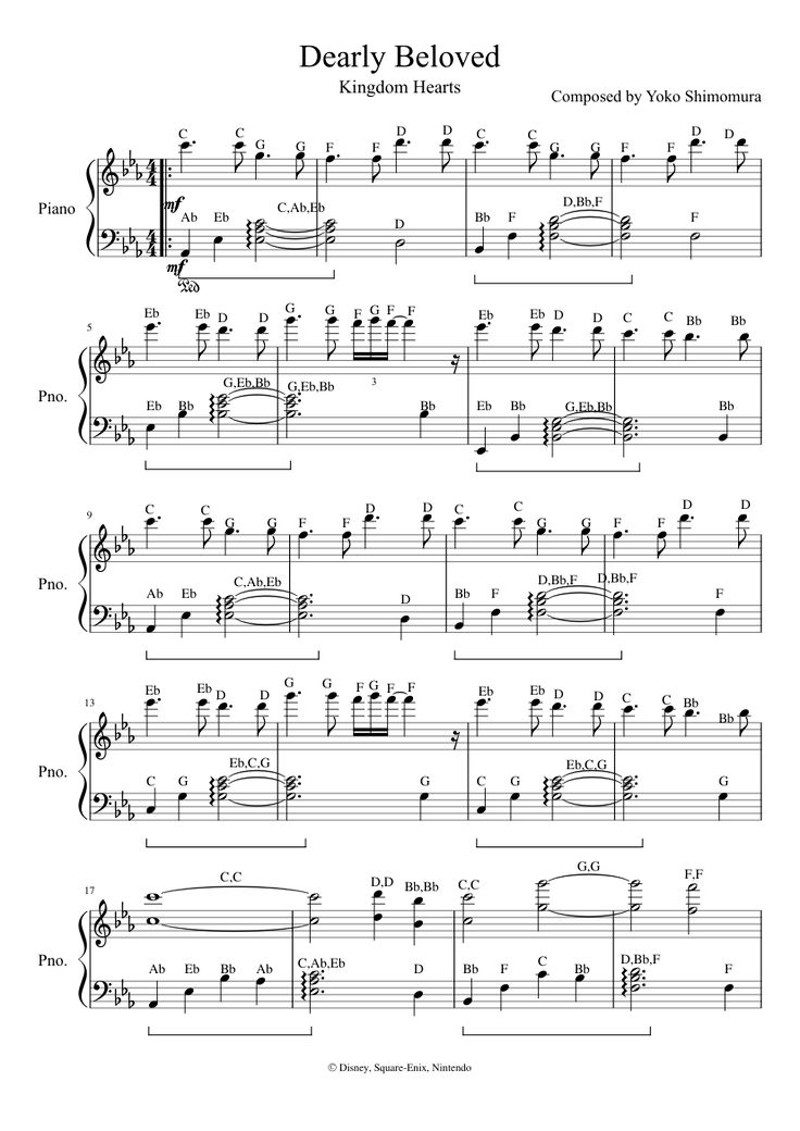 Print and download Dearly Beloved - Composed by Yoko Shimomura for Piano and Keyboard. Made by Heartless Nobody.