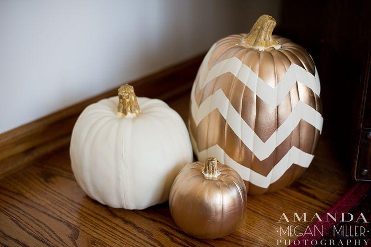 DIY Chevron & Gold Pumpkins