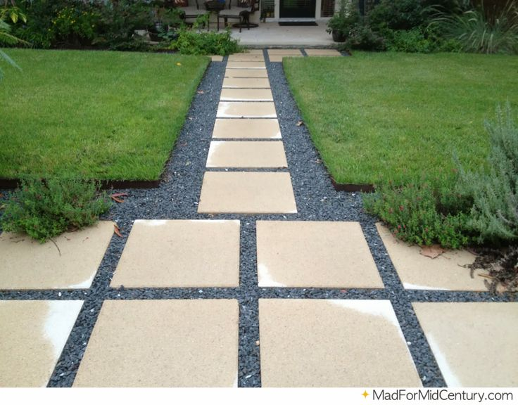 Slab And Gray Stone Walkway Mid Century Landscaping