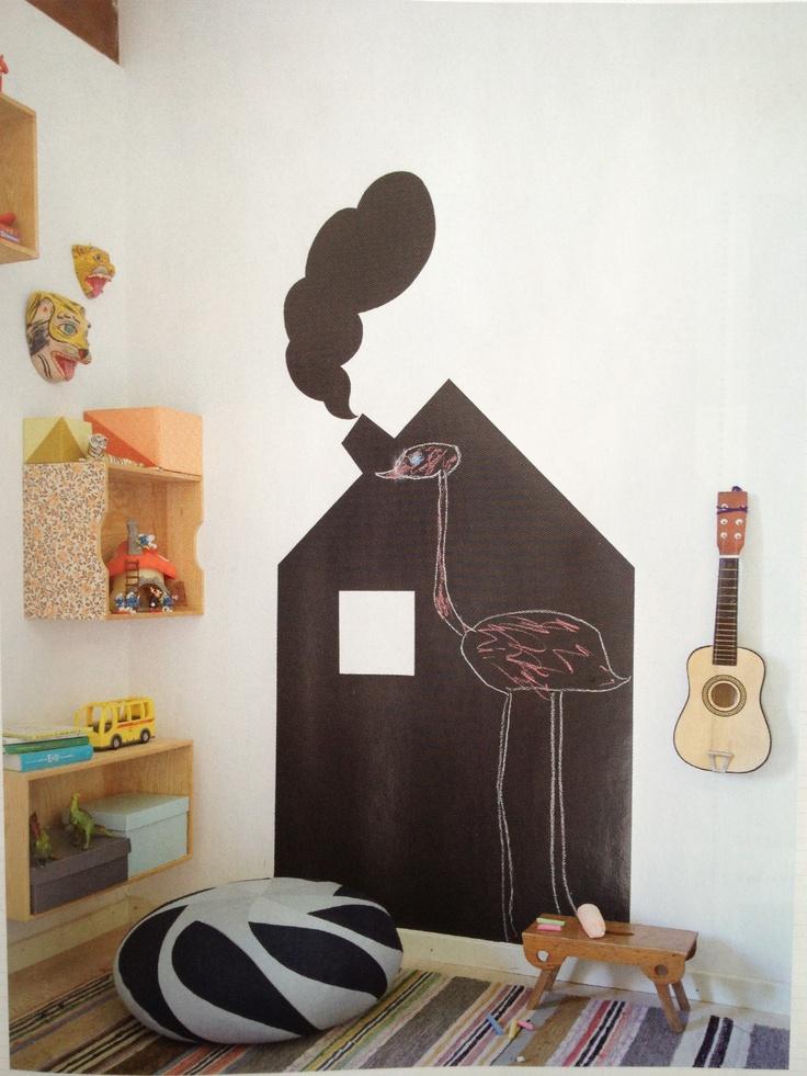 Boligpluss magasin: Tavlemaling barnerommet. Chalkboard kids room