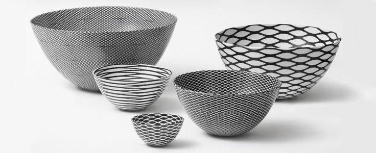 Porcelain bowls decorated with grafic prints, designed and handicrafted by Ane-Katrine von Bülow, Copenhagen