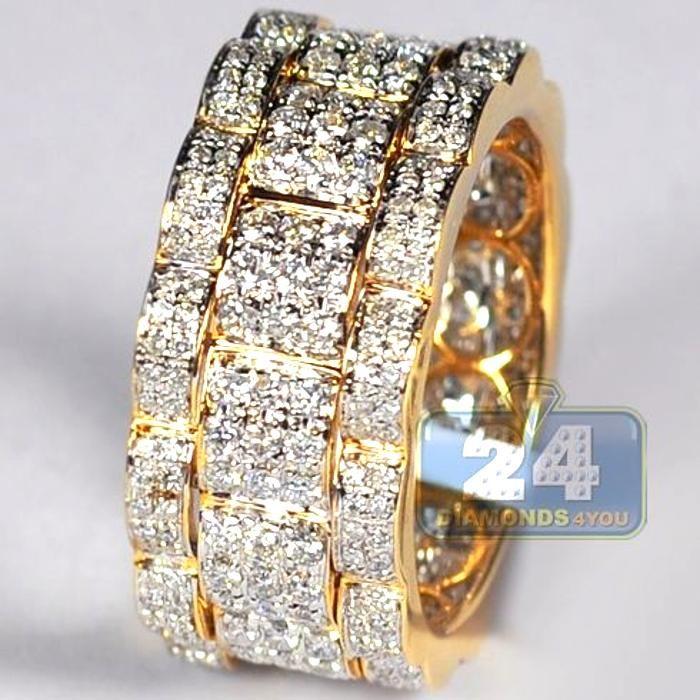 Mens Diamond Eternity Wedding Band Ring 14k Yellow Gold 2 09 Ct Lity Diamond Mens Diamond Wedding Bands Diamond Wedding Bands Diamond Eternity Wedding Band