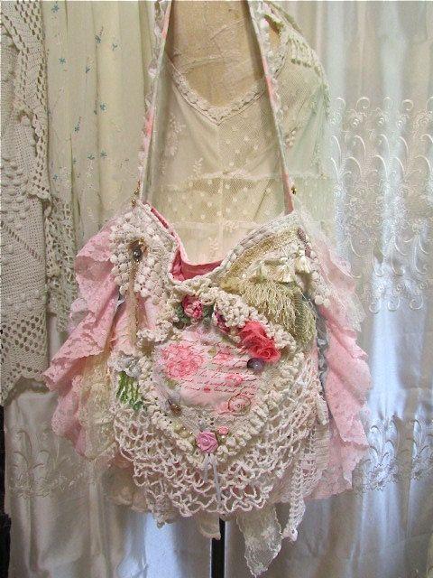 Shabby Victorian Bag handmade OOAK romantic by TatteredDelicates