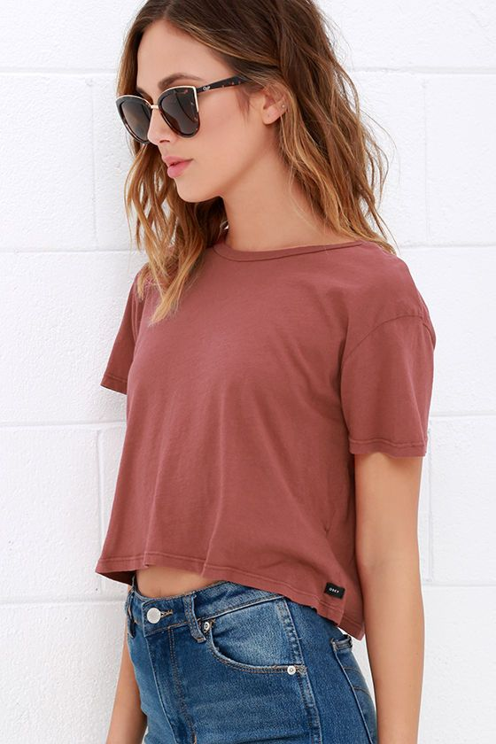 Obey Tiny Tee Rust Red Crop Top