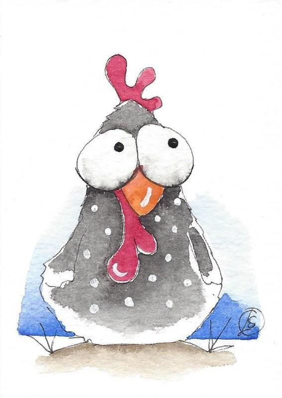 ACEO Original watercolor painting whimsical farm bird chicken (3) #IllustrationArt