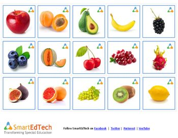 Nouns Fruits - a printable communication cards. Download, print and laminate one (or all) of our Communication Card sets and use them with your students just like traditional SLP cards. The cards are 2x2 and can also be used in the original Cranium Cariboo () game and with most communication boards.