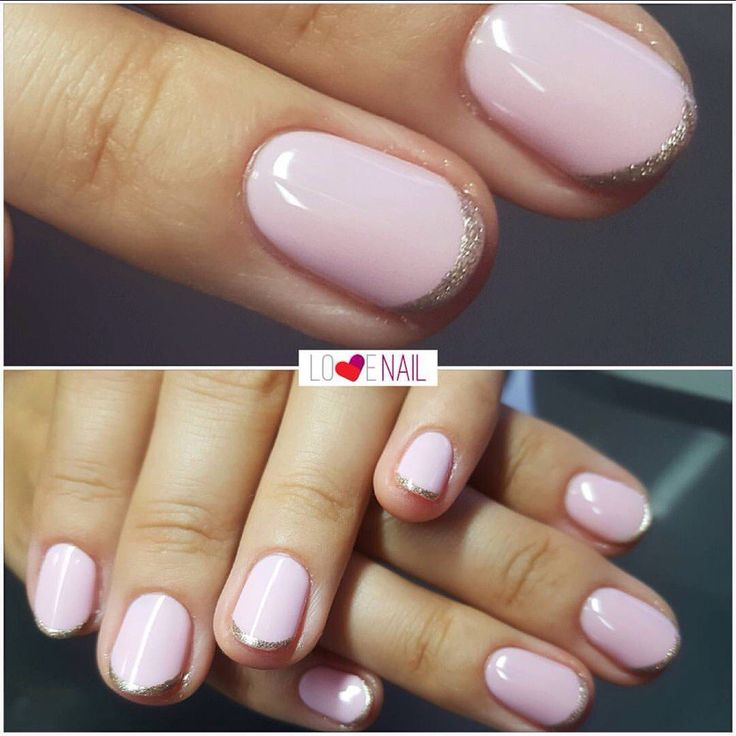Beautiful nails 2017, Delicate spring nails, Everyday nails, French millennium nails, Pale pink french manicure, Pale pink nails, Pink and silver nails, Round nails