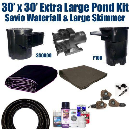 "30 x 30 Extra Large Koi Pond Kit 5,200 GPH Pump Savio Regular Skimmer With 16"" Faceplate & 22"" Savio Livingponds Waterfall XLS1 by Patriot. $1900.00. 30 x 30 EPDM LifeGuard Liner (lifetime warranty: 25 years) and 900 Square Feet of Underlayment, Savio Regular (Full Size) Skimmer With 16"" Faceplate & 22"" Savio Livingponds Waterfall, MS-5,200 GPH Monsoon Hybrid Drive. 2"" x 50' FreezeFlex PVC Hose, (3) 20 Watt Rock Lights with 60 Watt Transformer, All Installation Hardw..."