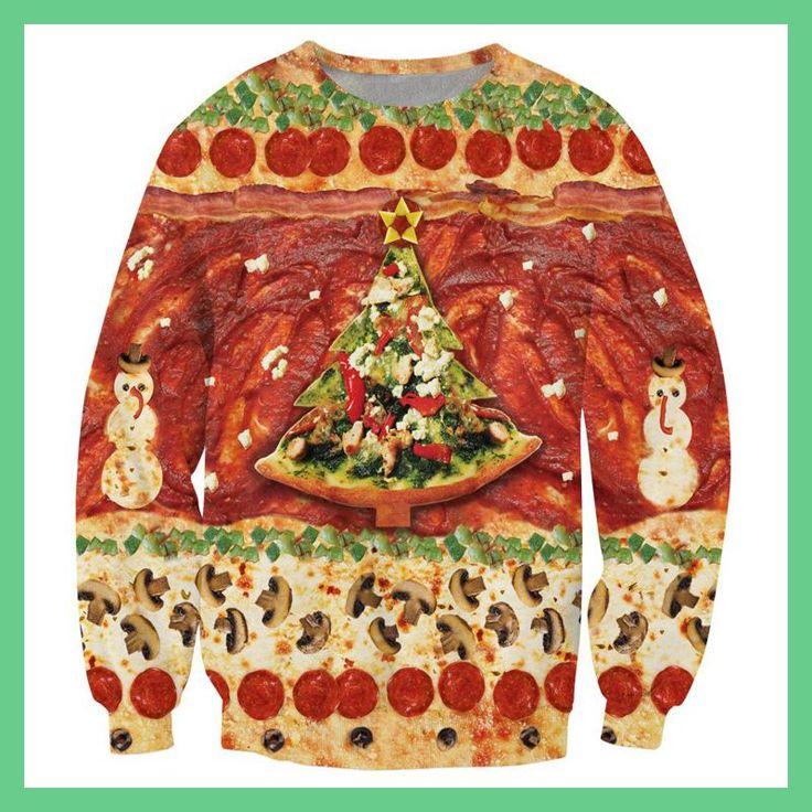 Harajuku style Christmas is Pizza sweatshirt 3d print women/men pullover hoodie long shirt crewneck hoody Drop shipping