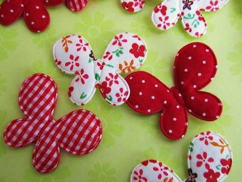 Red Cotton Fabric Butterfly