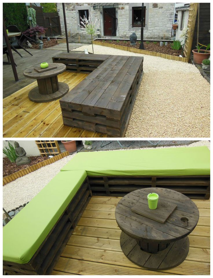 Zen garden with pallets ! #Garden, #Lounge, #Pallets, #Recycled, #Sofa