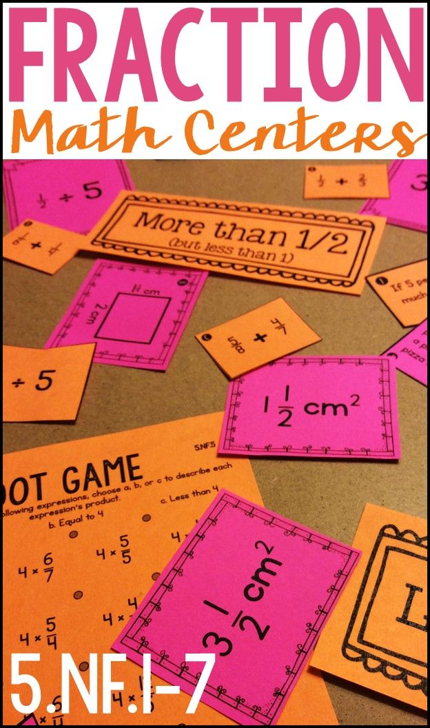 Six Fraction Math Centers and Games to practice fractions as division, adding and subtracting fractions, multiplying fractions, and division with unit fractions Aligned to the fifth grade Common Core math standards 5.NF.1-7