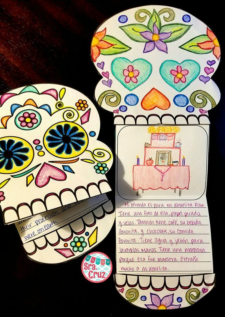 Writing Template for Día de los Muertos / Day of the Dead After students learn about Día de los Muertos, they can respond to writing prompts to show their understanding on these fun calavera templates.  Includes decorated and blank calavera, 7 different w