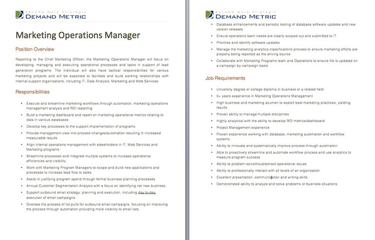 Marketing Operations Manager Job Description - A template to - business manager job description