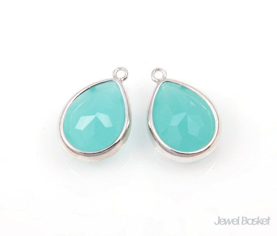 Mint Color Glass and Silver Framed Teardrop Pendent / 10.5mm x 16mm / SMTS028-P (2pcs)  - High Polished Rhodium plated Frame (Tarnish Resistant) - Mint Color Glass - Brass and Glass / 10.5mm x 16mm - 2pcs / 1pack #mint #mintpendant #framedpendant #mintpendant #silverpendant #droppendant #necklacependant #mintdrop #mintsilver