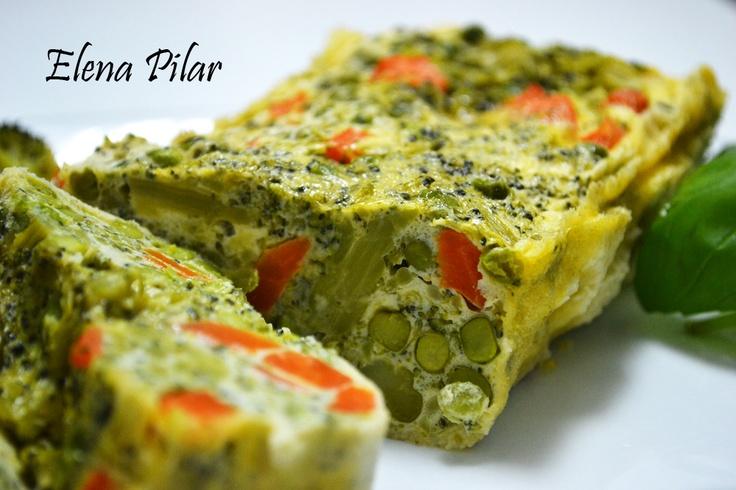 Mi Recetario por Elena Pilar: Pastel vegetal, con brócoli, guisantes y zanahoria (Microondas)