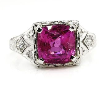 "GIA Natural ""NO HEAT"" 4.02ct Hot Vivid Pink Sapphire and Diamond Platinum Art Deco Ring"
