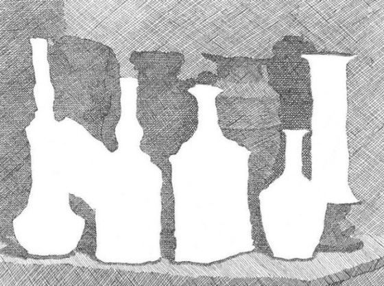 Morandi, Still life with vases on a table, 1931